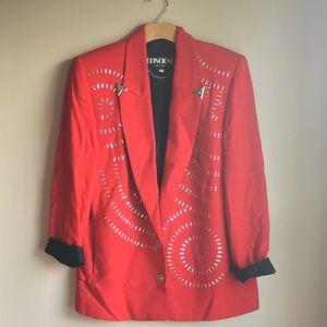 VIntage Red Blazer Western Style Studded Medium